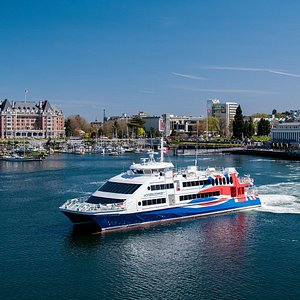 The newer, bigger Victoria Clipper V with year-round daily ferry service between Seattle and Victoria, BC.