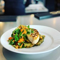 Grilled Swordfish Roasted Chimichurri Fingerling Frites Baby Watercress & Pickled Carrot Salad Spiced Hazelnuts