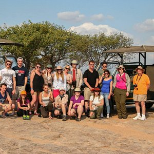 A great group of tourists having a great time while on safari in the Kruger National Park.