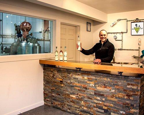 Tasting room with Simon - Owner, Distiller -  Alchemist Distiller, Summerland BC