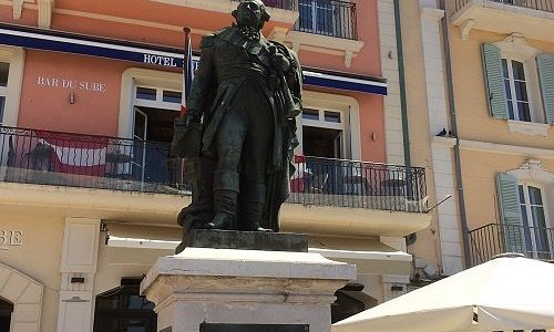 Statue of Pierre Andre Suffren (Bailli) in a street bearing his name in St Tropez France