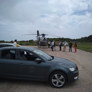VIP clients at the heliport of Ithaca...