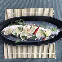 Steamed sea bass fish