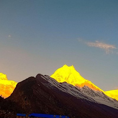 Sunset views of Mt Manaslu. The best trekking destination with different lifestyle and Culture.