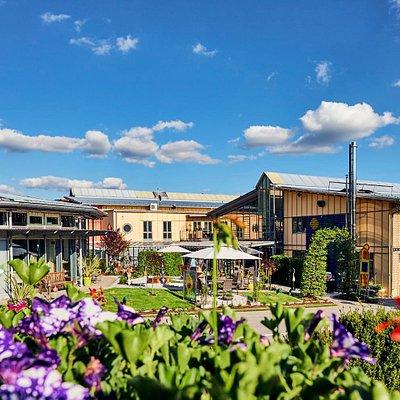 Ausblick vom Biergarten im JOSKA Glasparadies in Bodenmais / Bayerischer Wald