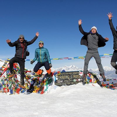 Annapurna Circuit Throng -la Pass in Annapurna circuit out trekkers and guide Enjoying the at Pass.
