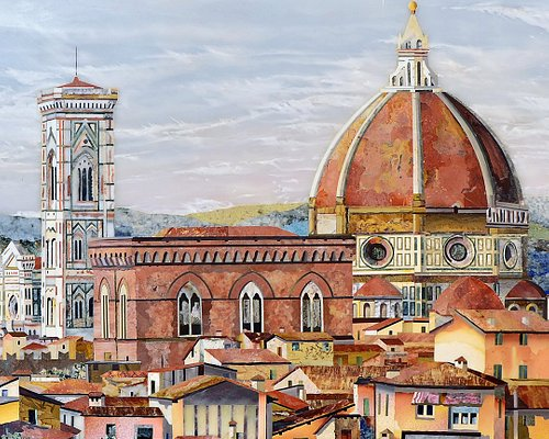 Pietra Dura Inlay plaque depicting Duomo and Giotto's Bell Tower in Florence