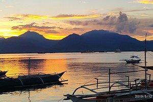 лодка, закат, горы