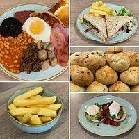 Big breakfast, Tuna sandwich, chips (gluten free), freshly made scones and eggs vegetarian.