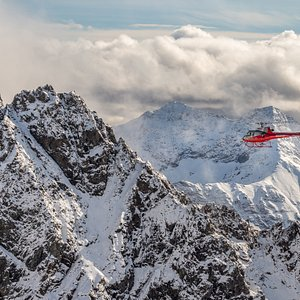 Flying through the rugged Alaska Range on the way out to the Yanert Glacier.