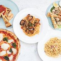 Margherita pizza, pasta and fried calamai