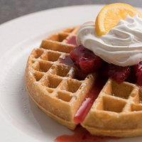 Belgian Waffle with Strawberries and Whipped Cream