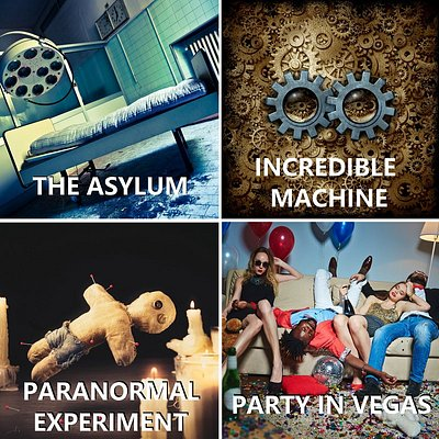 """Pick one of the 4 immersive Escape Rooms. """"The Asylum"""" - suspense, medium difficulty. """"Incredible Machine"""" - steam-punk adventure game. """"Paranormal Experiment"""" - horror, the hardest room; and finally """"Party in Vegas"""" - imagine yourself a hero of Hangover movie=)"""