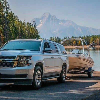 Our Large SUV with our 20' Bowrider at Jackson Lake