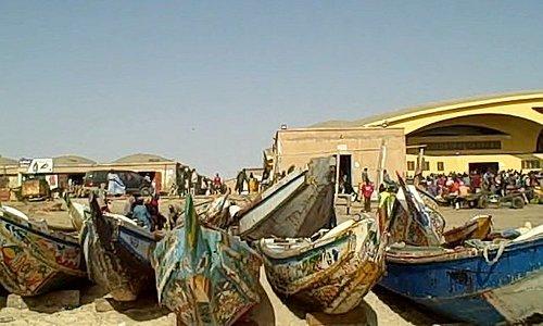Fishing boats docked on the sands in Nouakchott.