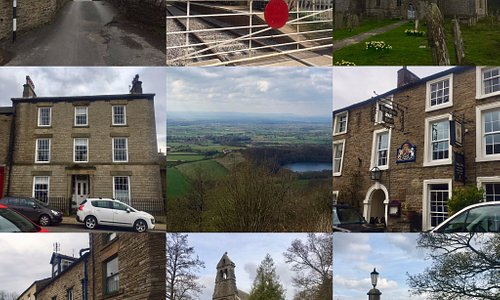 James Herriot Country: Clockwise starting at Top Left: Title sequence with car, Darrowby Station, James and Helen's Wedding Spot, Kings Arms Hotel (Drover's Arms), Darrowby Bus Stop, Darrowby Church, Darrowby Cattle Market, Skeldale House & In the middle: The Finest View in England