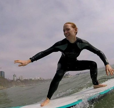 Standing up on the surfboard for the first time...Good job!!