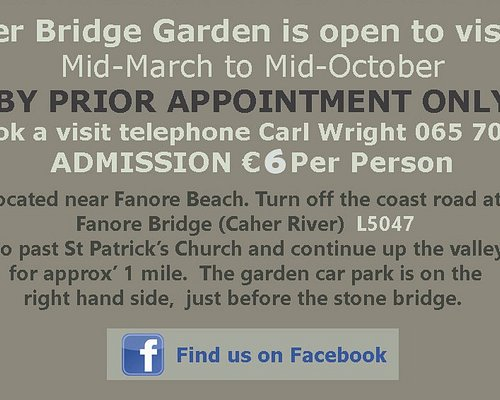 The garden is open from Mid-March to October STRICTLY by prior arrangement. Bookings can be made by telephone, email, via Trip Advisor or on the facebook page. All visits are by guided tour by the owner. The tour lasts approximately one hour and a half depending on the level of interest and the weather conditions.! The garden is not suitable for children.