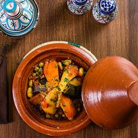 Mogador Tajine Marinated Beef in Charmoula sauce with a selection of fresh vegetables