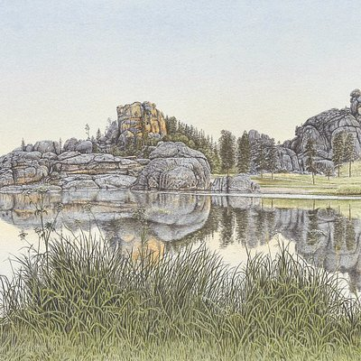"""Symphony of Water & Stone"" by Jon Crane ---a watercolor print of Sylvan Lake in the Black Hills, SD."