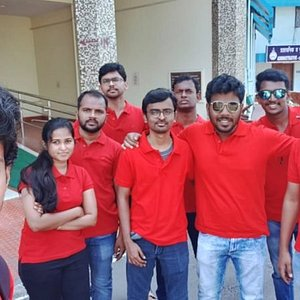 Me and my friends Rajesh, Siri, and our batch