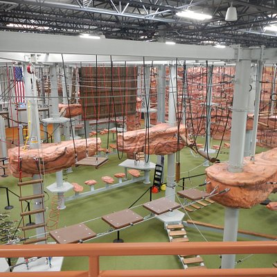 The largest indoor ropes course in the world!  Over 120 challenging and exciting obstacles