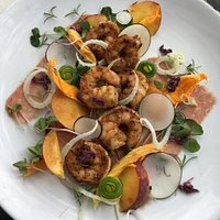 North Carolina Shrimp, Flow Farm Black Radishes and Kalawi Peaches