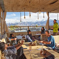 Afternoons at Bodhi Greens in leh, food with a view :)