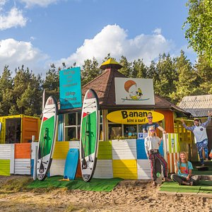 Front of our Kiteboarding Center with crew and friends.