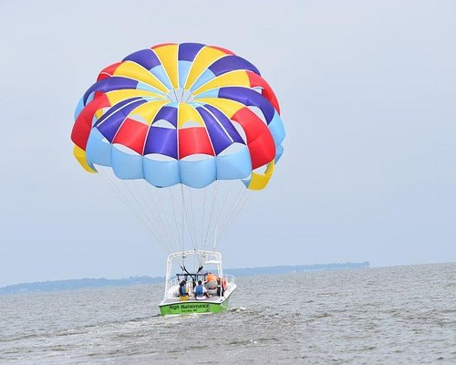 Come enjoy a bird's eye view of the northern Currituck Sound, Atlantic Ocean, Historic Currituck Beach Lighthouse, and Whalehead Club in beautiful Corolla, NC. We offer 400, 600 and 800 ft. Flights. We can fly singles, doubles and triples, and our parasail boat holds up to 12 people which insures longer flying times. If space is available, observers are welcome free of charge. Our goal is to make a lasting impression on your parasailing experience.