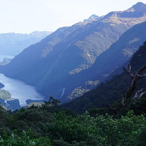 view of Doubtful Sound from the bus to Lake Manapouri