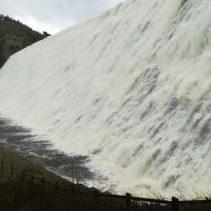Derwent Dam spilling over...the noise and spray, amazing. (Doesn't always spill over, March 2019)
