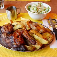Chicken, fries and salad
