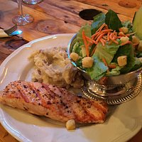 grilled salmon, mashed potatoes, and salad
