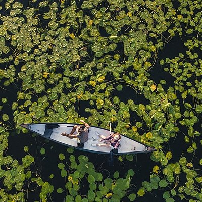 """Our boat on tle """"green"""" lake !"""