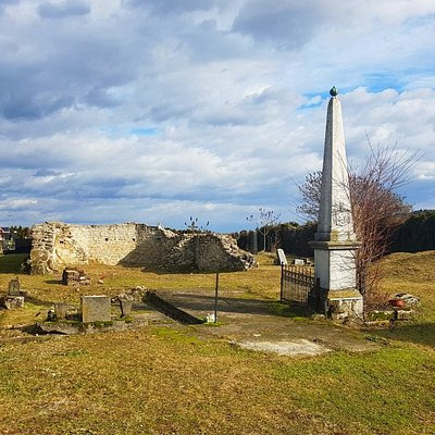 The remains of St. Anne church next to the cemetery, left afther the church was destroyed in the Croatian war for independence.