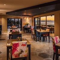 Inside restaurant at sunset