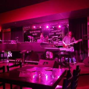 Piano, drums, guitar, fun lighting