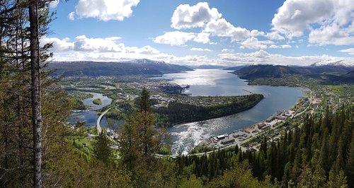 Panorama from Tjuvtrappa  :) You can see a Mo i Rana city :)