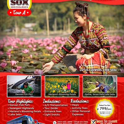 This day tour will bring you to the majestic Lake Sebu, South Cotabato where you will immerse with the T'boli culture and eat their local cuisines. Also, you will get the chance to see first hand the gigantic Tunas of General Santos City, enjoy the zipline adventure at the Seven Falls in Lake Sebu and stroll at the famous sunflower farm in Tupi, South Cotabato.