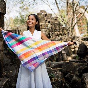Our Carré Nuancié   100% Fine Silk  Banteay Chhmar Temple - Cambodia