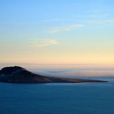 Ynys Enlli / Bardsey Island from the mainland.