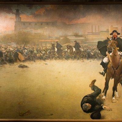 La Càrrega, de Ramon Casas, se puede ver en la exposición permanente del Museu de la Garrotxa.