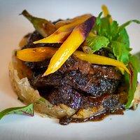 Florida Natural Wagyu Beef cheeks with yuca mofongo
