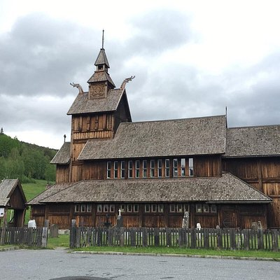 The two stave churches in Uvdal. One as part of a museum and off the route 40 and the larger one on the route 40.