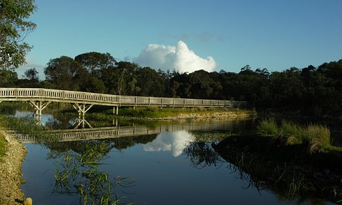 Bridge at Lake McIntyre, Millicent SA. Great to walk around this Lake and view the vast range of Bird life that call this reclaimed quarry home. Also BBQ & Toilet facilities available here.