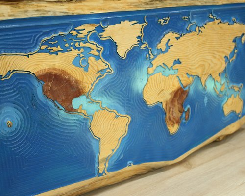 A World Map engraved on Cyprus pine wood. A master piece ;-)