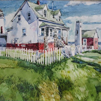 Pemaquid Lighthouse, watercolor by Gwendolyn Evans