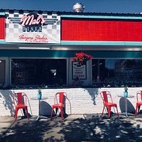 Enjoy the sunshine with your shake at the front of the diner.