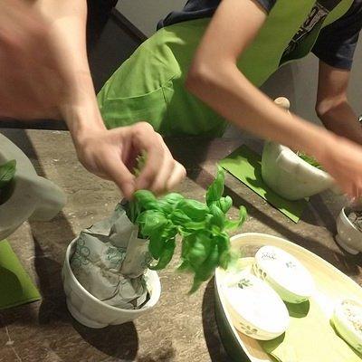 Pesto making using local Ligurian basil & pine nuts